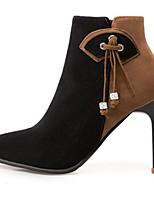 Недорогие -Для женщин Обувь Полиуретан Зима Туфли лодочки Модная обувь Ботинки Заостренный носок Ботинки Назначение Черный Бежевый