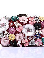 Women Bags Polyester Evening Bag Crystal Detailing Flower(s) Sequins for Wedding Event/Party All Season Wine