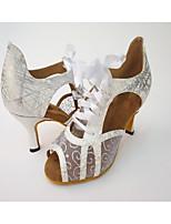 Women's Salsa Leatherette Net Heel Indoor Ribbon Tie Splicing High Heel Silver Black Gold 2.56 in (6.5cm) 2.95 in (7.5cm) 3.35 in (8.5cm)
