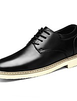 Men's Shoes Real Leather Nappa Leather Spring Fall Comfort Oxfords Lace-up For Casual Dark Brown Brown Black