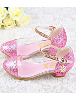 cheap -Girls' Shoes PU Fall Tiny Heels for Teens Heels For Casual Pink Blue Silver Gold