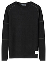 Men's Daily Casual Regular Pullover,Solid Print Round Neck Long Sleeves Polyester Winter Fall/Autumn Thick Micro-elastic