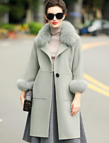 Women's Daily Going out Simple Casual Winter Coat,Solid Tailored Collar Long Sleeves Regular Wool Pocket