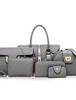 cheap -Women's Bags PU Bag Set 6 Pieces Purse Set Pattern / Print for Shopping Casual All Seasons Brown Gray Black Gold