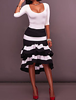 Women's Party Sexy Spring/Fall T-Shirt Skirt Suits,Striped Round Neck 3/4 Length Sleeves Polyester