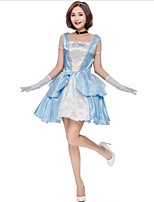 cheap -Snow White Princess One Piece Dress Cosplay Costumes Female Halloween Carnival New Year Festival / Holiday Halloween Costumes Blue Color