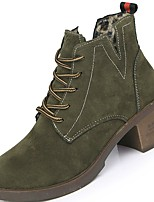 cheap -Women's Shoes PU Winter Comfort Fashion Boots Bootie Boots Round Toe Booties/Ankle Boots For Casual Office & Career Green Black