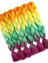 """economico -Trecce extra large 1pack Trecce di capelli Afro 24 """" Capelli sintetici Nero / rosso / giallo / bianco Arancione / giallo / verde /"""