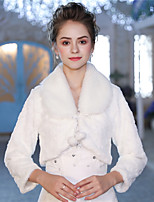 3/4 Length Sleeves Faux Fur Wedding Party / Evening Women's Wrap With Lace-up Pom-pom Shrugs