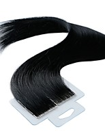 billige -Tape-in Menneskehår Extensions 20pcs / Pack 2,5 g / pc Jet Sort 20 tommer