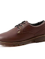 Men's Shoes Cowhide Spring Fall Comfort Oxfords Lace-up For Office & Career Red Brown Black