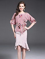 Women's Daily Going out Cute Autumn/Fall Blouse Skirt Suits,Striped Round Neck 3/4 Length Sleeves Others