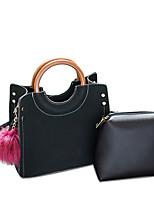 cheap -Women Bags PU Bag Set 2 Pieces Purse Set Beading Feathers / Fur for Formal Office & Career All Season Black Gray Khaki