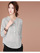 cheap -Women's Daily Street chic Shirt,Solid V Neck Long Sleeves Cotton