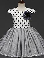 Girl's Birthday Causal Polka Dot Dress,Polyester Short Sleeves