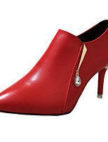 cheap -Women's Shoes PU Spring Fall Comfort Bootie Boots For Casual Red Black
