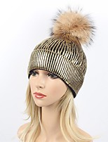 Women's Wool Acrylic Raccoon Fur Floppy Hat Ski Hat,Party Casual Striped Solid Winter Fall Pure Color Silver Gold