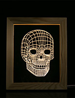 cheap -1 Set Of 3D Mood Night Light LED Lights USB Bedroom Photo Frame Lamp Gifts Skull