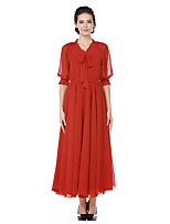 Women's Going out Casual/Daily Simple Street chic A Line Swing DressSolid V Neck Maxi Half Sleeve Cotton Polyester Spring Fall High Waist