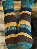 Women's Hosiery Ultra Warm Socks,Wool Striped 2pcs Red Blue