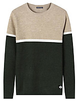 Men's Daily Casual Regular Pullover,Color Block Round Neck Long Sleeves Polyester Winter Fall Thick Micro-elastic