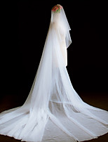 One-tier Cut Edge Modern Wedding Veil Blusher Veils Cathedral Veils Headpiece 53 Ruched Tulle