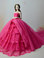 cheap -Dresses Dress For Barbie Doll Rose Red Dress For Girl's Doll Toy