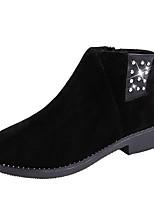 abordables -Femme Chaussures Polyuréthane Hiver boîtes de Combat Bottes Bout pointu Bottes Mi-mollet Strass Pour Décontracté Noir Marron