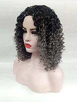 Women Synthetic Wig Medium Length Black/ Dark Grey Curly Hair With Bangs Women Wig