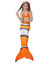 cheap -The Little Mermaid Skirt Swimwear Bikini Kid Christmas Masquerade Festival / Holiday Halloween Costumes Orange Red Blue Color Block