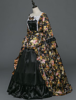 Victorian Rococo Female Adults' Party Costume Masquerade Black Cosplay Stretch Satin Satin Long Sleeves Floor Length