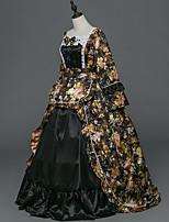 Vittoriano Rococò Donna Per adulto Vestito da Serata Elegante Stile Carnevale di Venezia Nero Cosplay Satin elasticizzato Manica lunga