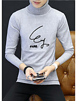 Men's Daily Going out Long Pullover,Solid Turtleneck Long Sleeves Polyester Winter Fall Thick Micro-elastic