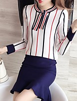Women's Going out Casual Winter Fall Sweater Skirt Suits,Striped Round Neck Long Sleeves Spandex
