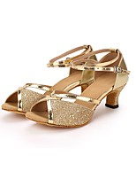 Women's Latin Paillette Leatherette Heel Performance Paillette Customized Heel Gold 2