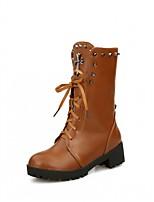 abordables -Mujer Zapatos Semicuero Invierno Primavera Botas de Moda Botas hasta el Tobillo Botas Dedo redondo Botines/Hasta el Tobillo Para Casual