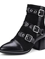 cheap -Women's Shoes Flocking PU Fall Winter Comfort Boots Chunky Heel Pointed Toe Buckle For Outdoor Office & Career Gray Black