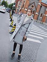 Недорогие -Для женщин На выход На каждый день Зима Осень Пальто с мехом Лацкан с острым углом,Уличный стиль Однотонный Длинная Длинные рукава,