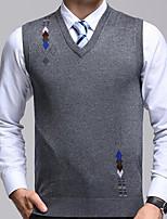 Men's Casual/Daily Regular Vest,Geometric Round Neck Sleeveless Cotton Fall Winter Medium Micro-elastic