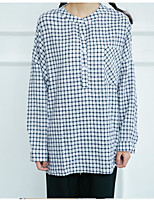 Women's Daily Going out Street chic Fall Shirt,Check Round Neck Long Sleeves Cotton