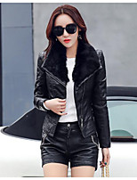 Women's Casual/Daily Simple Fall Winter Leather Jacket,Solid Shirt Collar Long Sleeves Short PU