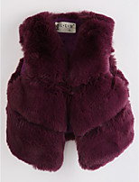 Girls' Solid Vest,Faux Fur Wine
