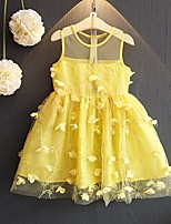 Girl's Birthday Going out Solid Dress,Cotton Summer Sleeveless Cute Princess Yellow