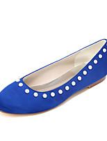 Для женщин Обувь Сатин Весна Лето Удобная обувь Свадебная обувь Ноль На плоской подошве Круглый носок Ноль Искусственный жемчуг Назначение