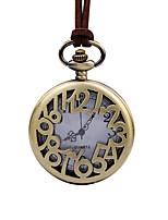 cheap -Men's Pocket Watch Chinese Quartz Large Dial Leather Band Elegant Brown