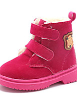 cheap -Girls' Shoes Nubuck leather Winter Fall Comfort Combat Boots Boots Walking Shoes Mid-Calf Boots Magic Tape For Casual Peach Yellow Black