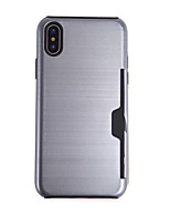 baratos -Capinha Para Apple iPhone X Porta-Cartão Capa Proteção Completa Sólido Rígida TPU para iPhone X / iPhone 8 Plus / iPhone 8
