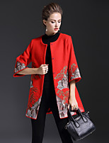 cheap -8CFAMILY Women's Party Holiday Boho Sophisticated Winter Cloak/Capes,Print Round Neck Half Sleeves Regular Wool Polyester Embroidered