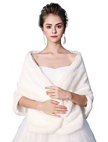 Sleeveless Faux Fur Wedding Party / Evening Women's Wrap With White Bow Maple Leaf Smooth Shawls
