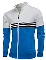 billige -Herrer I-byen-tøj Afslappet/Hverdag Sweatshirt Farveblok Høj krave Polyester Mikroelastisk Langærmet Vinter Efterår